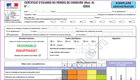 Enjeux et d roulement formation permis b auto cole personeni clerc - Grille permis de conduire ...